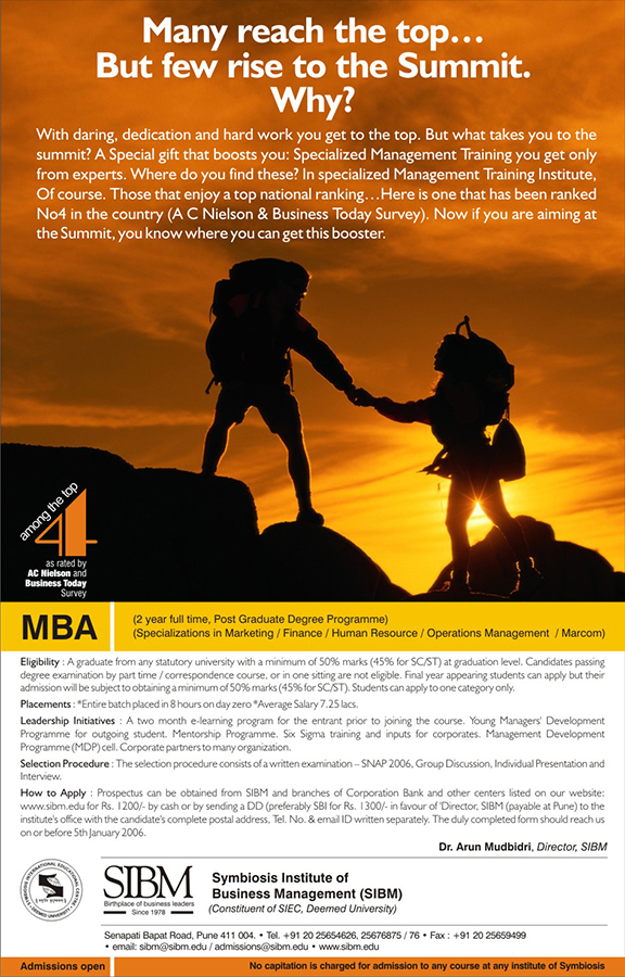 SIBM MBA Ad